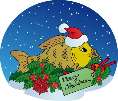 ornamental fish: Xmas carpa sulla neve sfondo