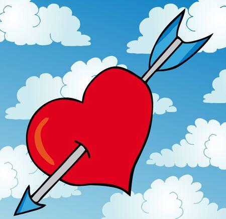 pierced: Pierced heart on sky  Illustration