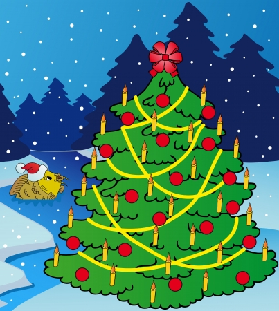 Landscape with Xmas tree - vector illustration  Illustration