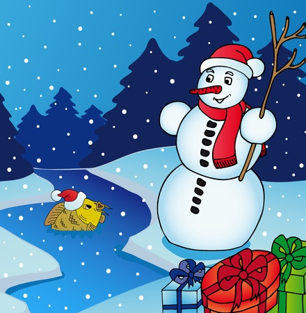 Landscape with Snowman  Vector