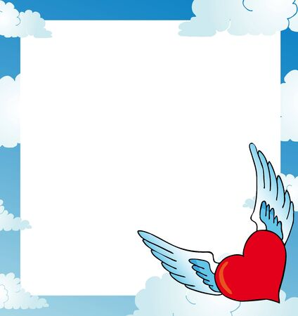 Frame with heart on sky Stock Vector - 16482143