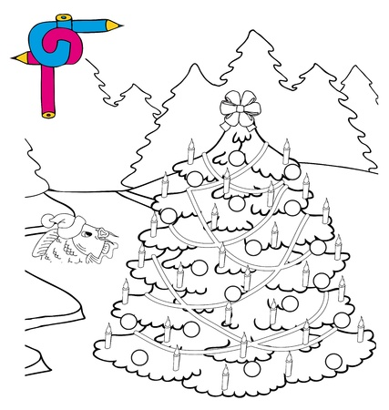 Coloring image Xmas tree