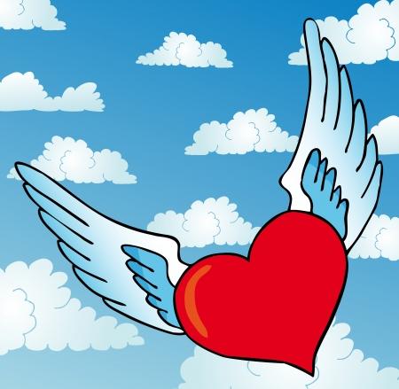 Flying heart on sky Stock Vector - 16482139