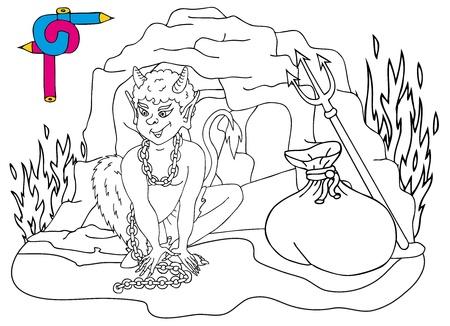 Coloring image devils cave  Illustration