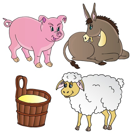 Farm animals theme collection  Vector