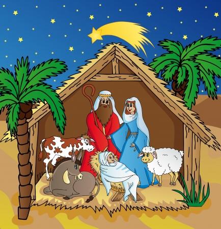 animal shelter: Bethlehem in night landscape - vector illustration