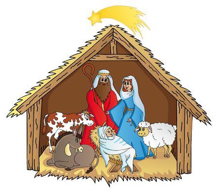 lady cow: Bethlehem on white background 02 - vector illustration