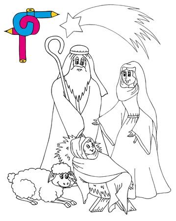 Coloring image Bethlehem - vector illustration