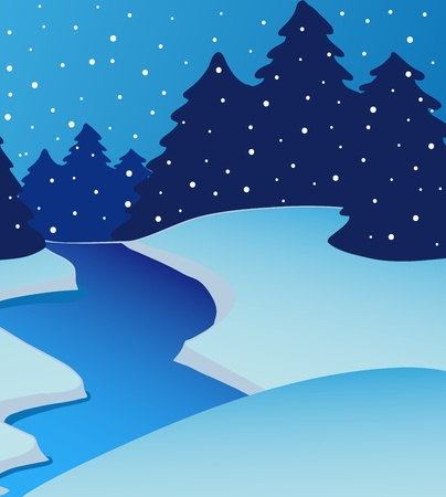 Landscape river on winter - vector illustration
