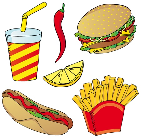 Various fast food collection Vector