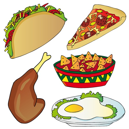 Various fast food collection Illustration