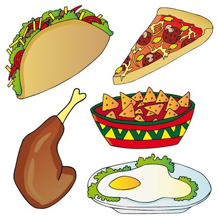 nachos: Various fast food collection Illustration