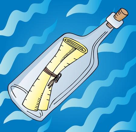 Message in bottle on water