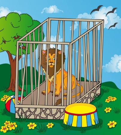 Lion in cage Illustration