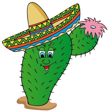 Cactus with sombrero - vector illustration.