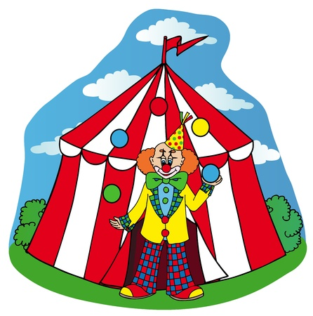 Circus tent with clown - vector illustration. Illustration