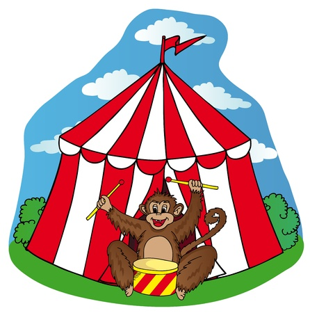 Circus tent with monkey - vector illustration.