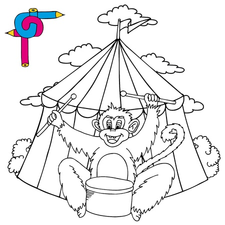 Coloring image circus with monkey - vector illustration. Illustration