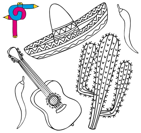 sombrero de charro: Imagen para colorear México colección - ilustración vectorial.