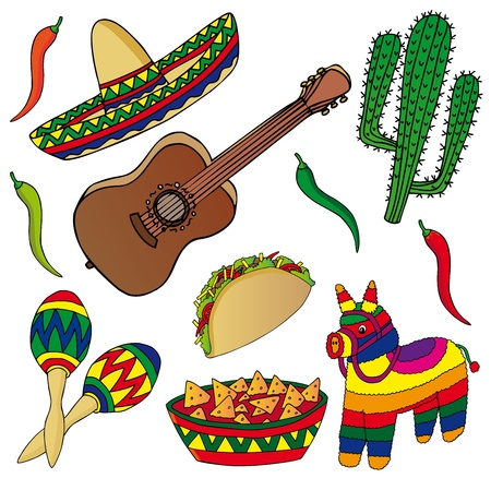 Set of various Mexican images - vector illustration.  イラスト・ベクター素材