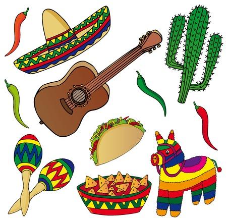mexican sombrero: Set di diverse immagini messicane - illustrazione vettoriale. Vettoriali