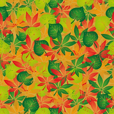 Seamless background autumn leaves - vector illustration.
