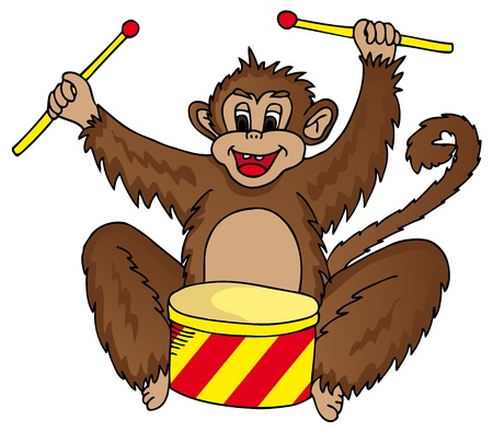 Monkey with drum - vector illustration.