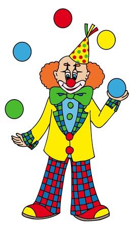 Juggling clown on white background - vector illustration.