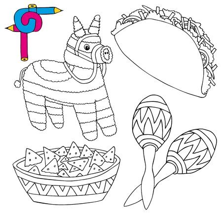 caricatura mexicana: Colorear la imagen de México colección 02 - ilustración vectorial.