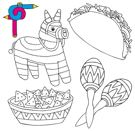 pinata: Coloring image Mexico collection 02 - vector illustration.