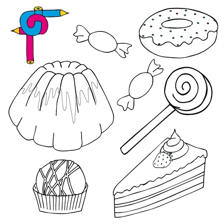 Coloring image cakes collection Stock Vector - 17205775