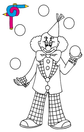 Coloring image with clown Vector