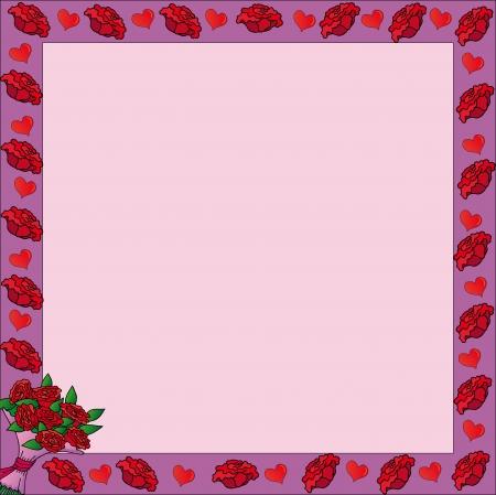 Frame with valentine roses Illustration