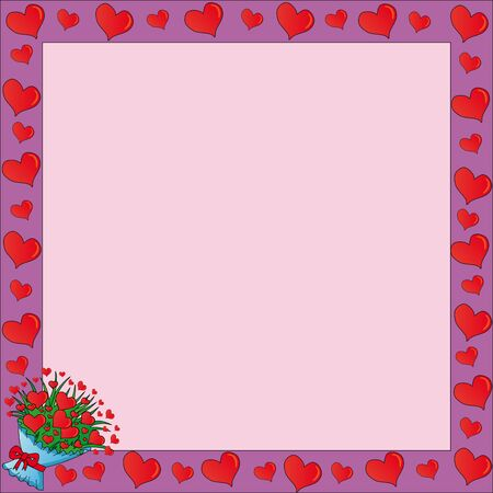 Frame with valentines hearts