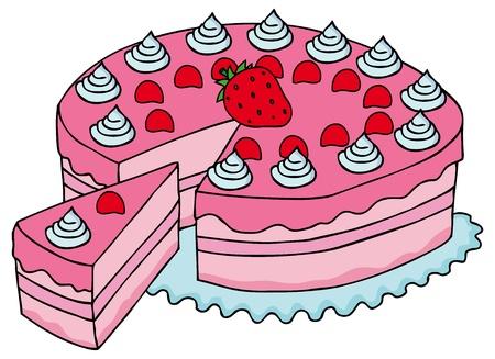 Sliced pink cake Stock Vector - 17205771
