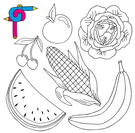 cucumber salad: Coloring image fresh collection - vector illustration. Illustration