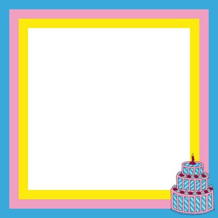 Frame with big cake - vector illustration.