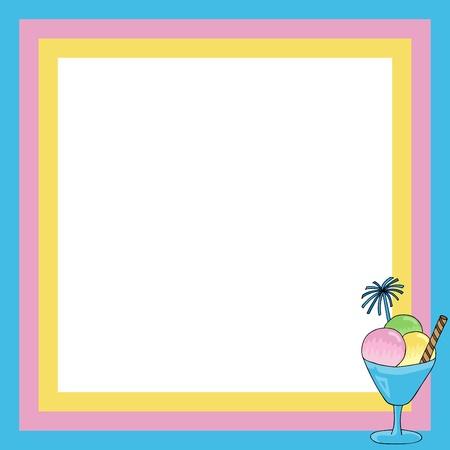 Frame with sundae - vector illustration. Illustration