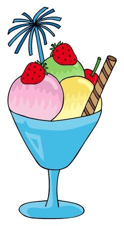 Ice cream sundae - vector illustration.