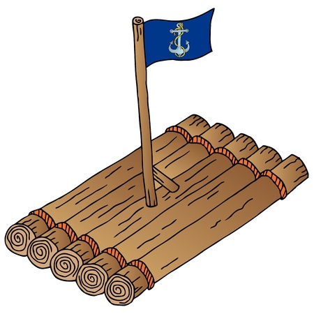 primitives: Wooden raft with flag - vector illustration. Illustration