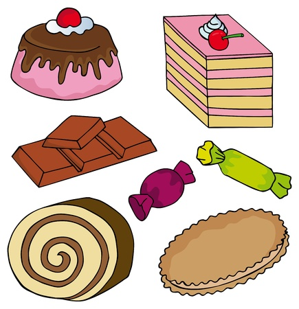 Various sweet collection - vector illustration.  イラスト・ベクター素材