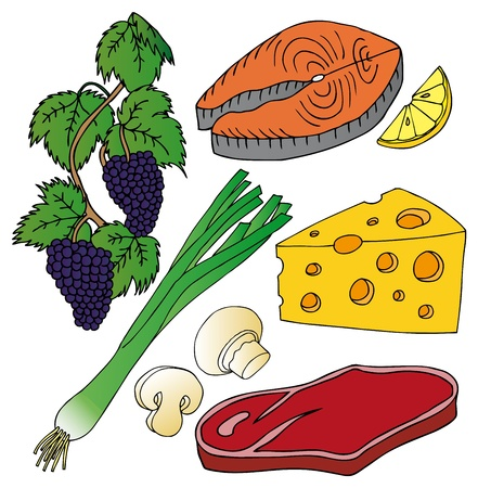 fish steak: Various food collection - vector illustration.