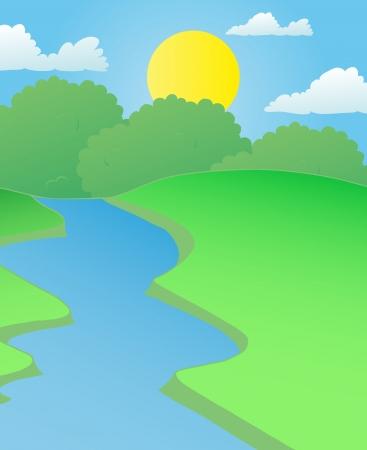 hayfield: Landscape river in summer - vector illustration.