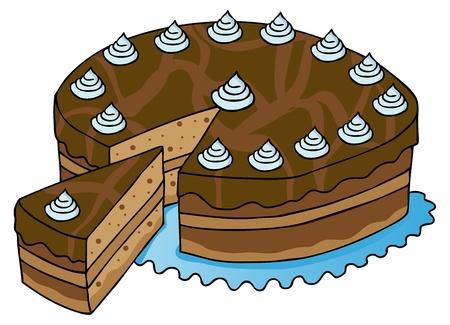 Sliced chocolate cake - vector illustration. Illustration