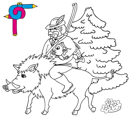 Coloring image hunter - vector illustration