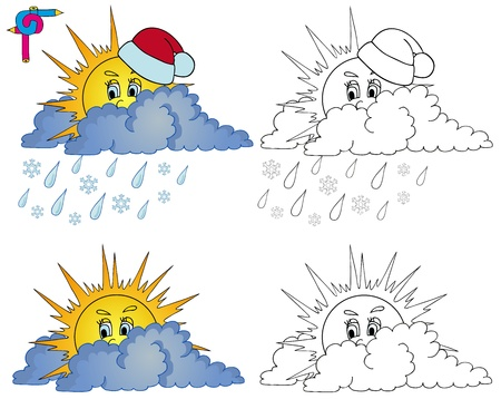 Coloring image weather 1 - vector illustration  Vector