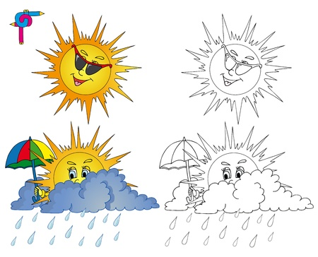 Coloring image weather 2 - vector illustration   イラスト・ベクター素材