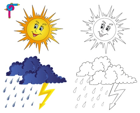 Coloring image weather 3 - vector illustration