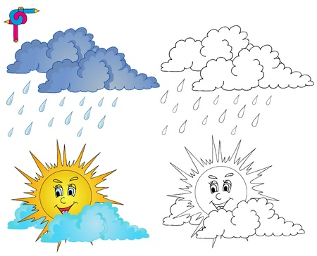 Coloring image weather 4 - vector illustration   イラスト・ベクター素材