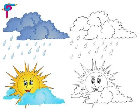 Coloring image weather 4 - vector illustration  Illustration